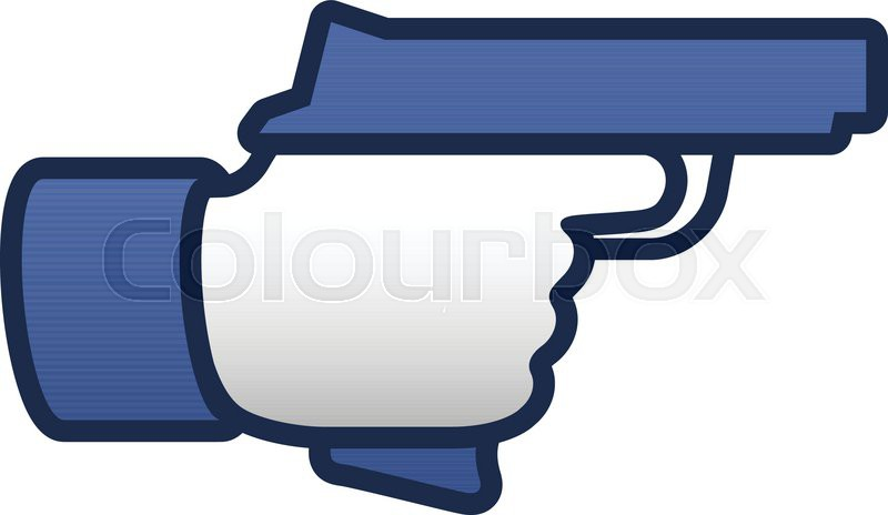 800x464 Like Thumbs Up Symbol Icon With Gun, Vector Illustration. Stock