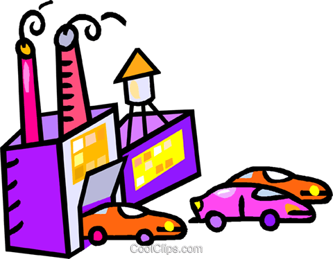 480x374 Automotive Factory Royalty Free Vector Clip Art Illustration