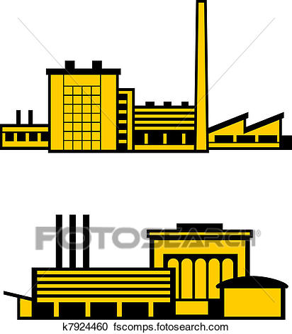 412x470 Clipart Of Factories K7924460
