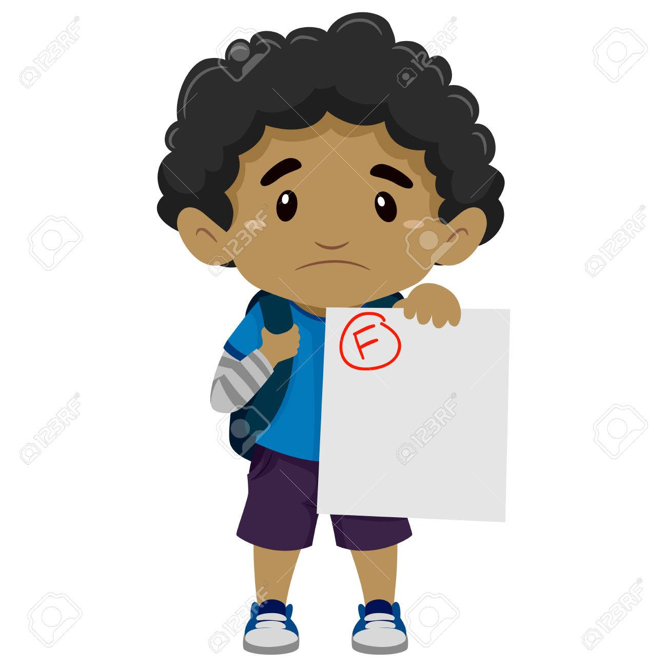 1300x1300 Vector Illustration Of A Black Boy Showing His Failed Exam Royalty