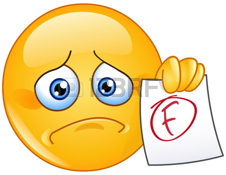 450x349 Disappointed Emoticon Showing A Paper With F Failure Grade Royalty