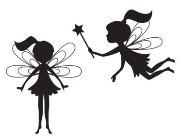 375x281 Vector Illustration Silhouette Of Funky Fairy On Flower Pattern