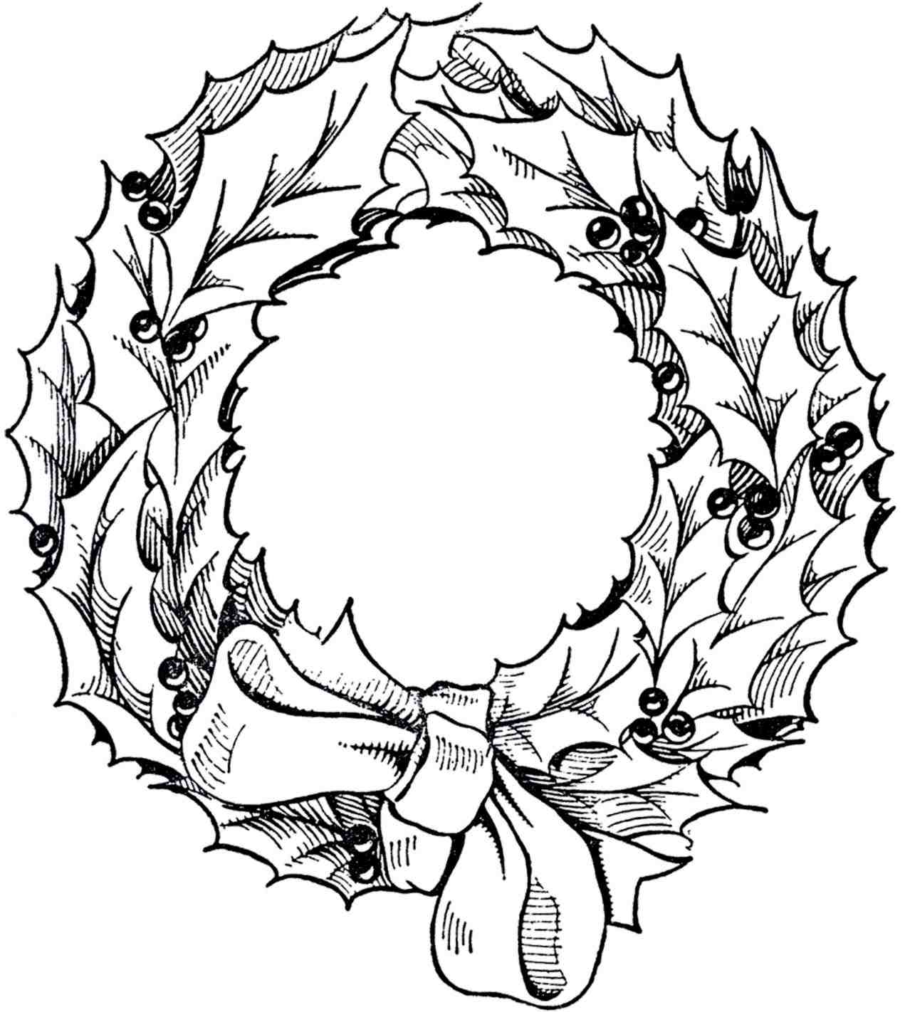 1271x1422 vintage black and white christmas wreath clipart graphic - Black And White Christmas Clip Art