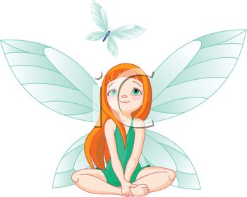 350x279 Picture Of Fairy Sitting Down Watching Blue Butterfly In