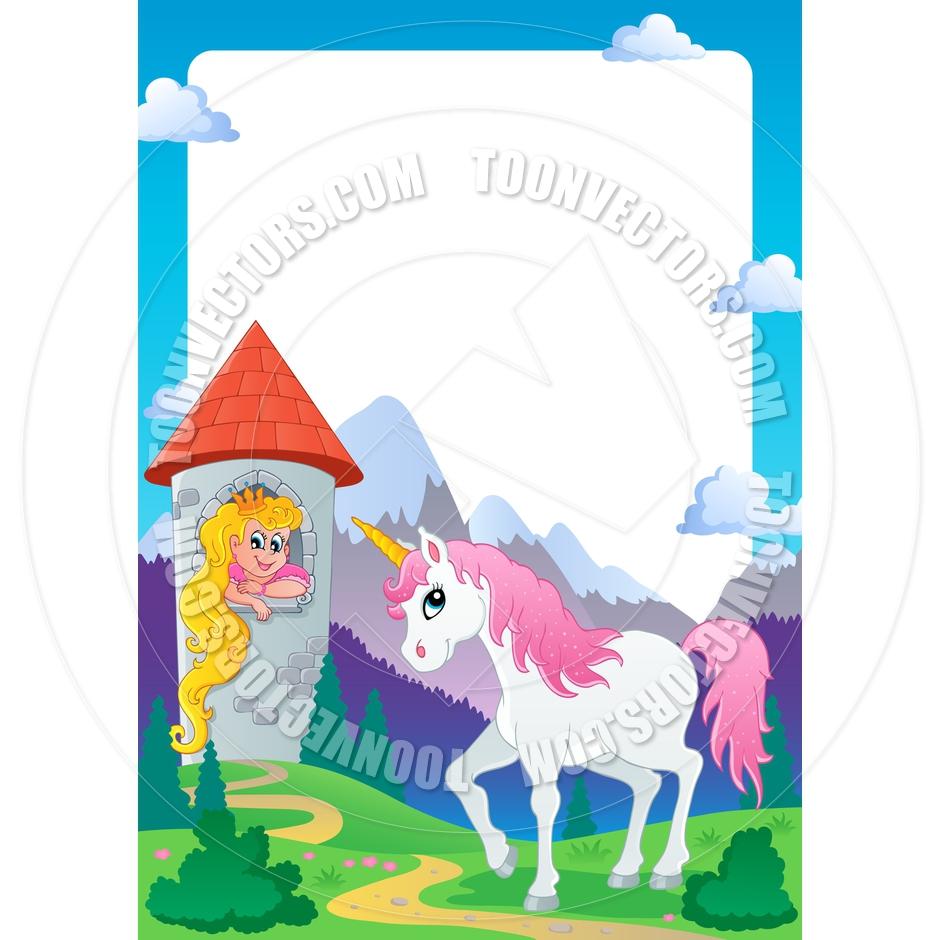 940x940 Cartoon Fairy Tale Princess And Unicorn Frame By Clairev Toon