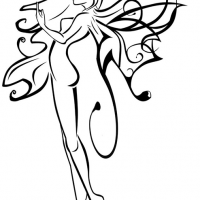 200x200 Amazing Outline Slim Fairy With Beautiful Wings Tattoo Design