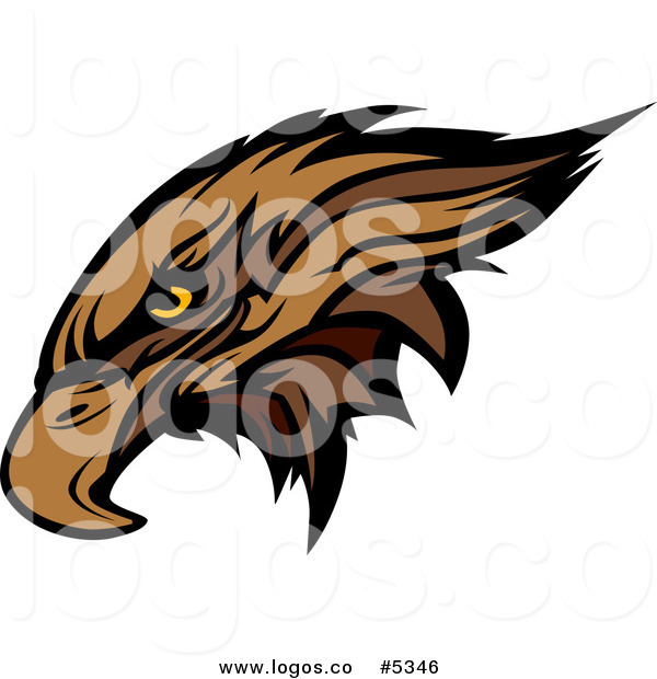 600x620 Royalty Free Vector Of A Logo Of A Brown Hawk Or Falcon Head By