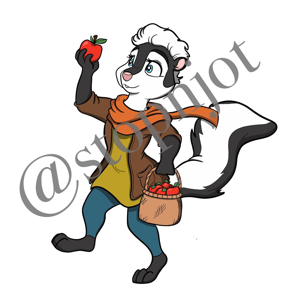 1024x1024 Apple Picker Skunk Fall Clip Art Stop