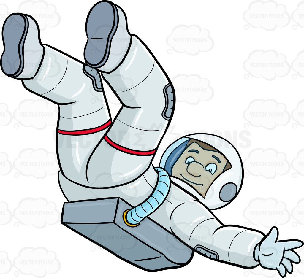 1024x937 A Male Astronaut Lets Himself Drift In Space Cartoon Clipart