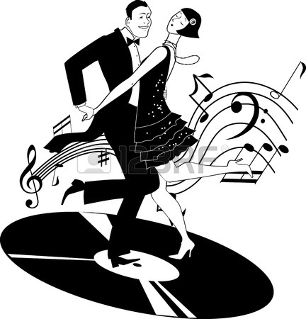 432x450 Black Vector Silhouette Of A Dancing Couple In Vintage Apparel