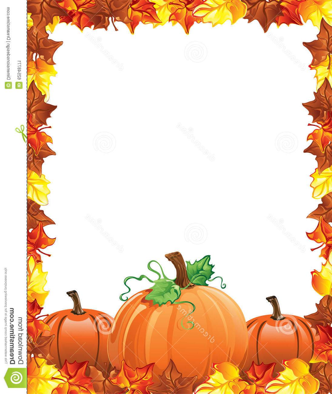 1094x1300 Hd Fall Leaves Pumpkins Border Illustration Autumn Design