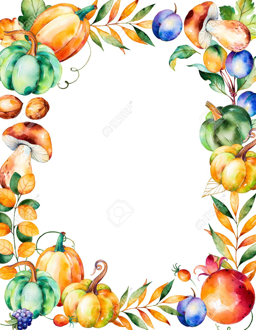 1011x1300 Beautiful Watercolor Frame Border With With Fall Leaves, Branches