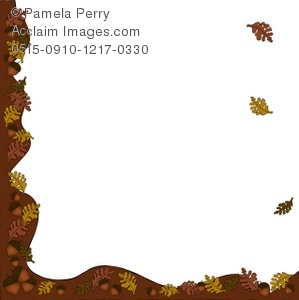 299x300 Acorn And Fall Leaves Page Border Royalty Free Clip Art Image