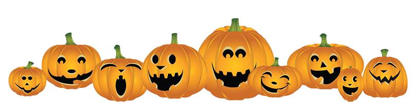 800x200 Pumpkin Patch Fall Pumpkin Border Clipart