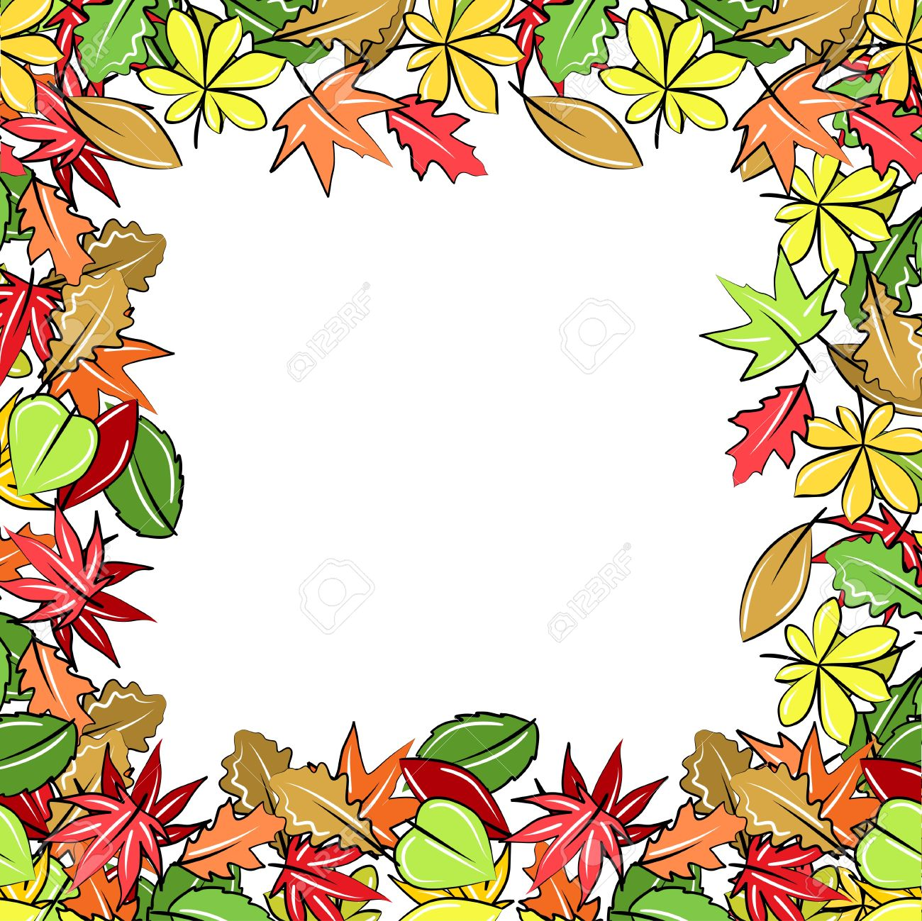 1300x1299 Autumn Leaves Borders Clipart