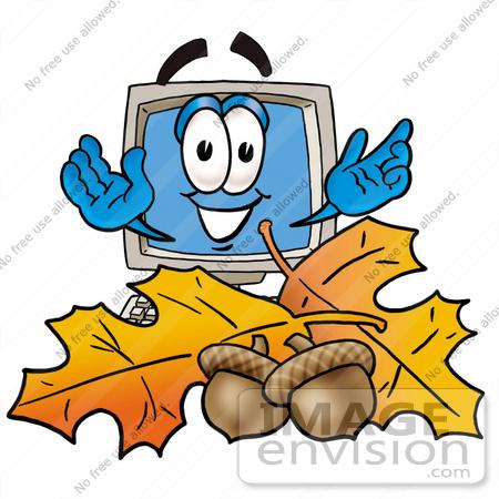 450x450 Clip Art Graphic Of A Desktop Computer Cartoon Character