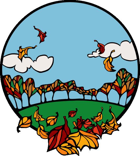 534x597 Fall Scene In A Circle Clip Art