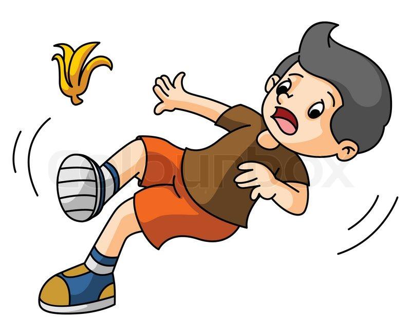 800x653 Vector Illustration Of Cartoon Boy Fall Down Stock Vector