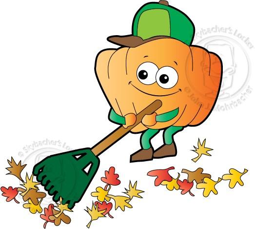523x469 Cartoon Pumpkin Raking Leaves Skybacher's Locker