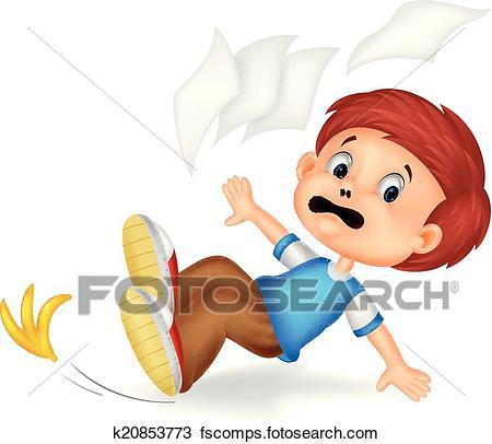 450x406 Clipart Of Cartoon Boy Fall Down K20853773