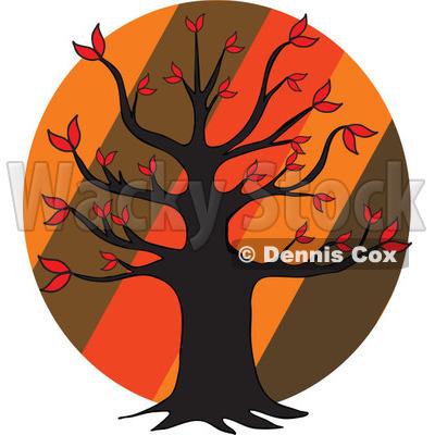 400x400 Of An Autumn Tree Over Diagonal Stripes On A Circle