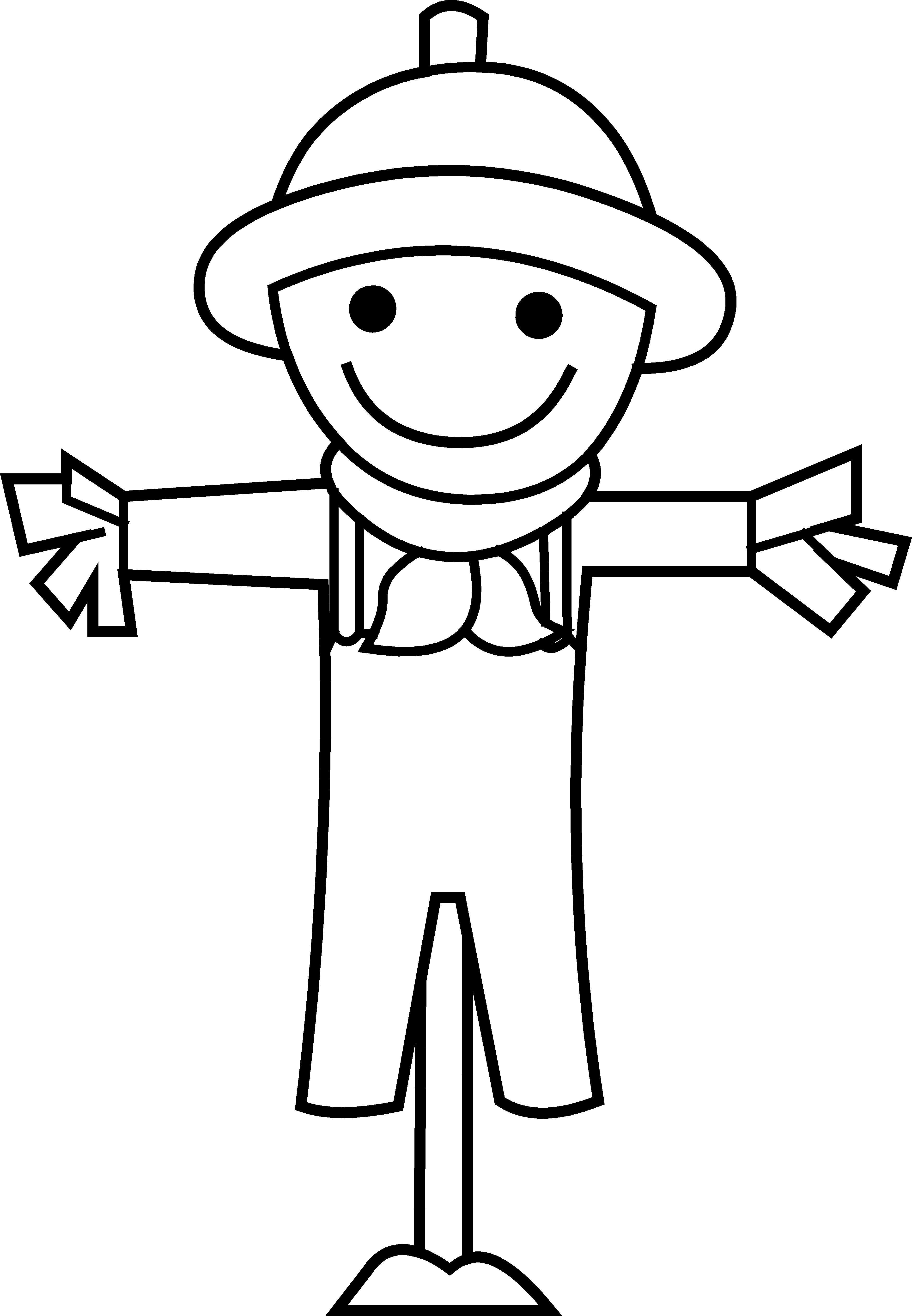 3798x5482 Cute Little Scarecrow Line Art