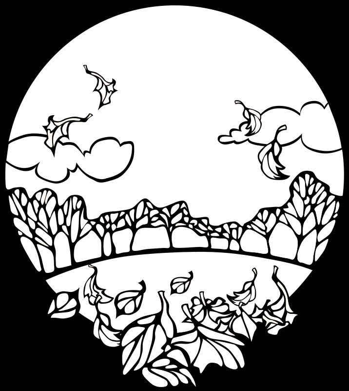 716x801 Fall Season Clipart Black And White