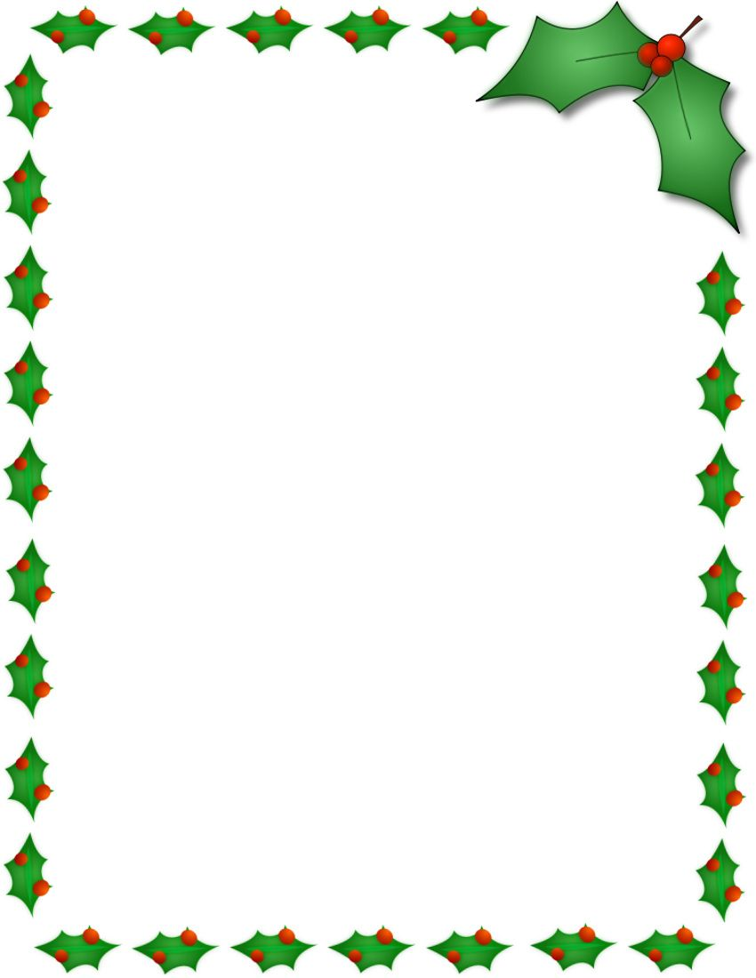 850x1100 Christmas Holly Border Page Public Domain Clip Art Image Wpclipart