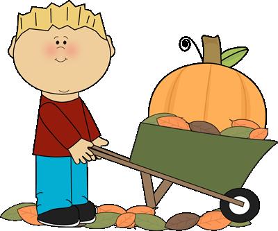 400x333 Boy With Pumpkin In A Wheelbarrow. Fall Clip Art