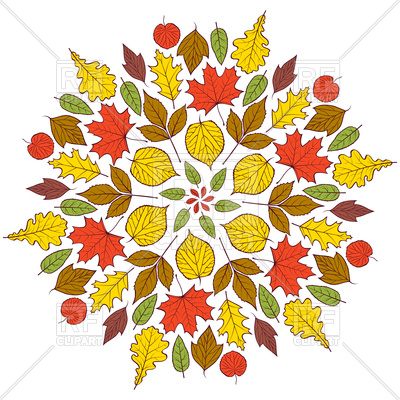 400x400 Colorful Autumn Mandala With Autumn Leaves Royalty Free Vector