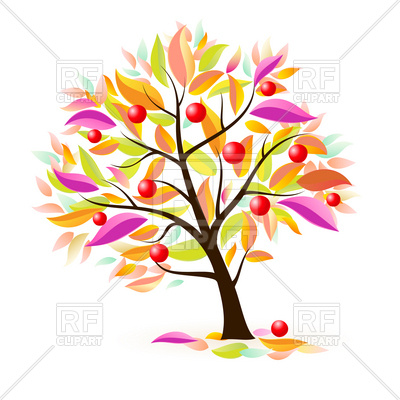 400x400 Stylized Apple Tree With Autumn Leaves Royalty Free Vector Clip