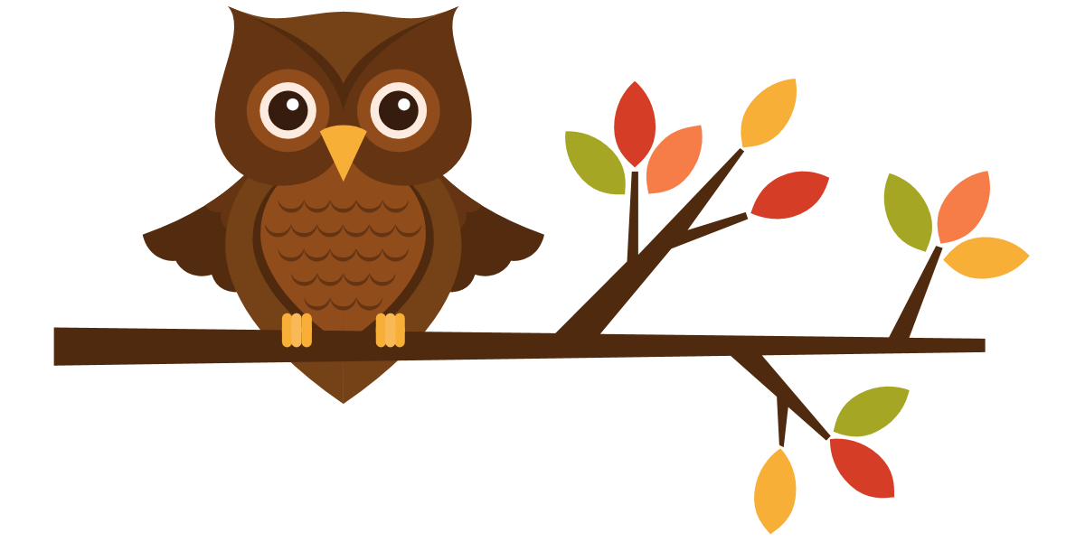 1200x600 Cute Fall Owl Clipart Kid