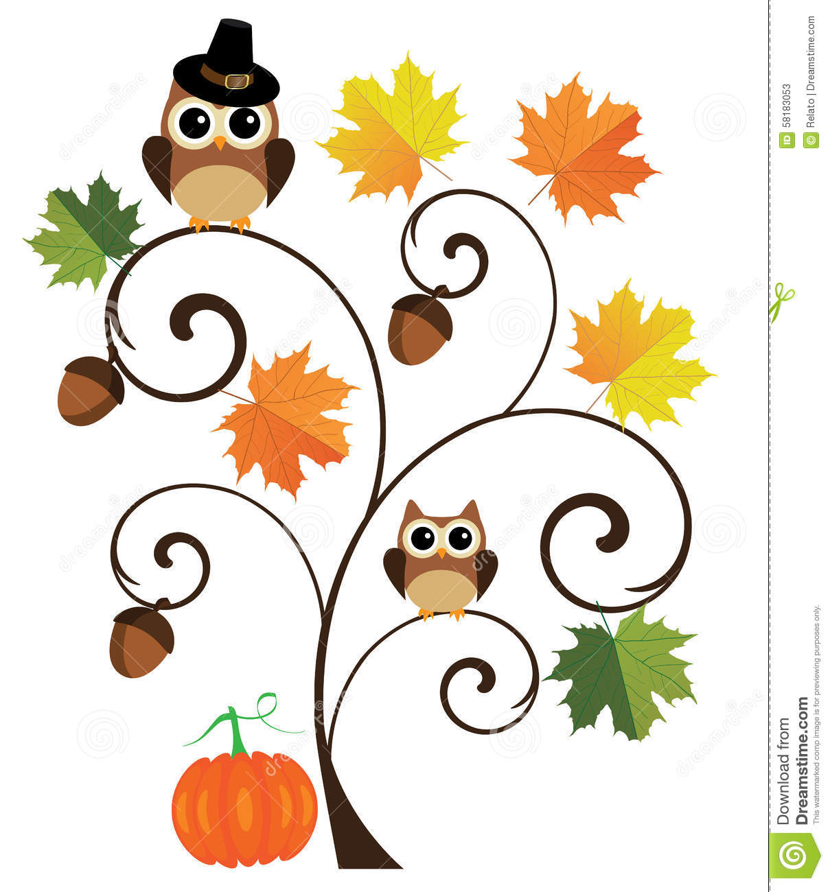 1209x1300 Owl With Fall Pumpkins Clipart