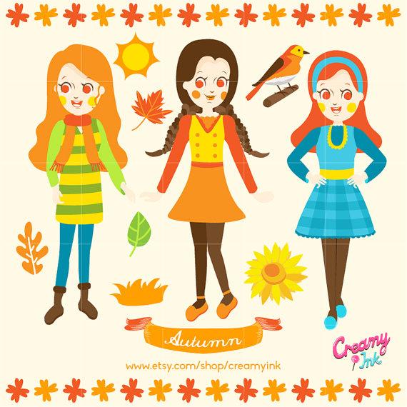 570x570 Fall Kids Digital Vector Clip Art Autumn Girls Clipart Design