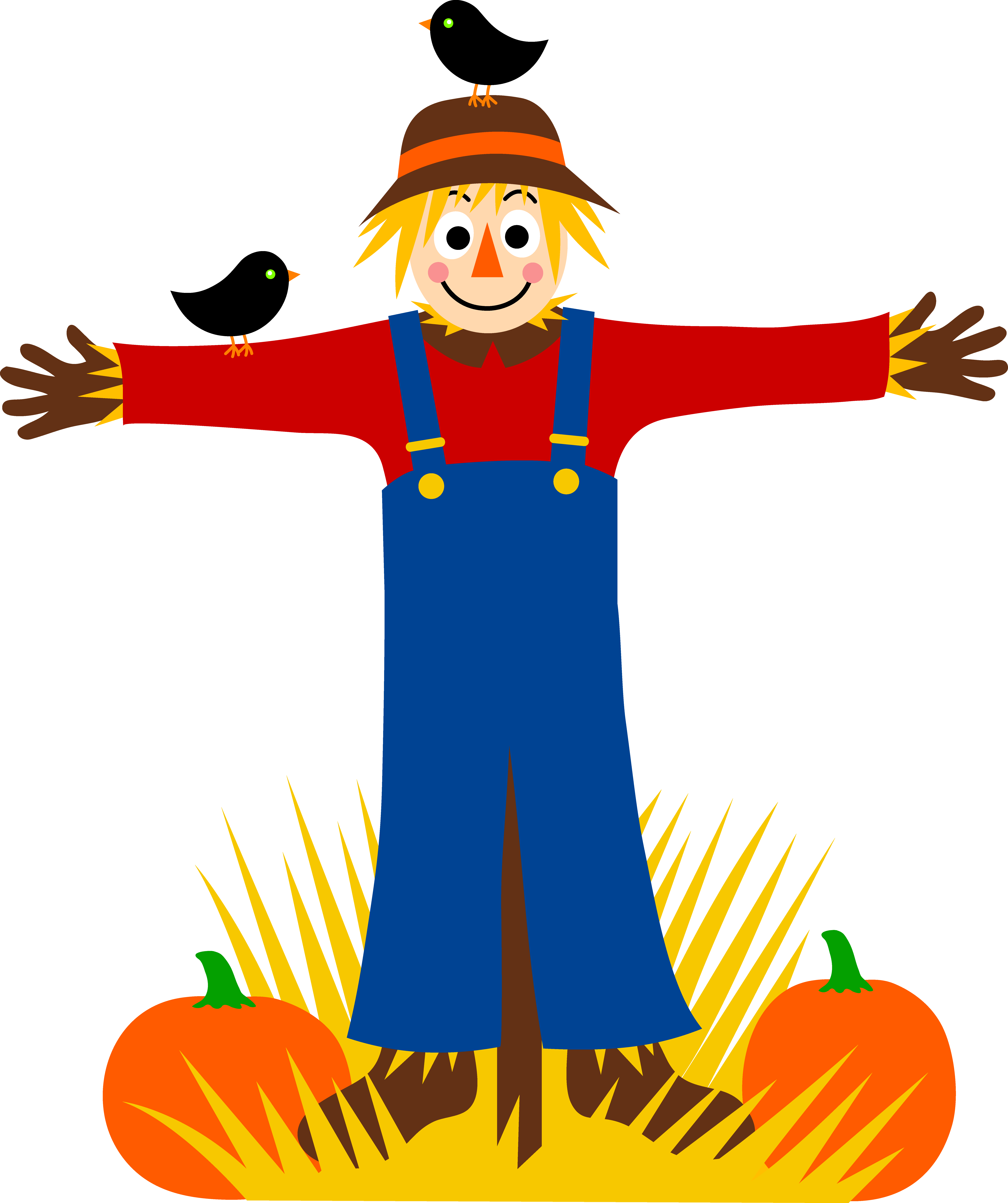 7219x8614 Scarecrow With Crows And Pumpkins