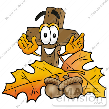 450x450 Clip Art Graphic Of A Wooden Cross Cartoon Character With Autumn