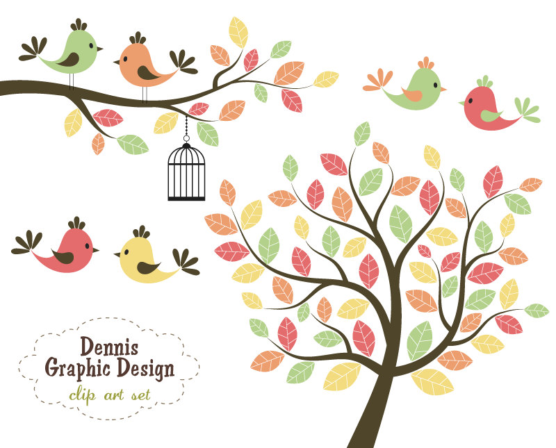 800x645 Autumn Tree With 2 Birds Clipart