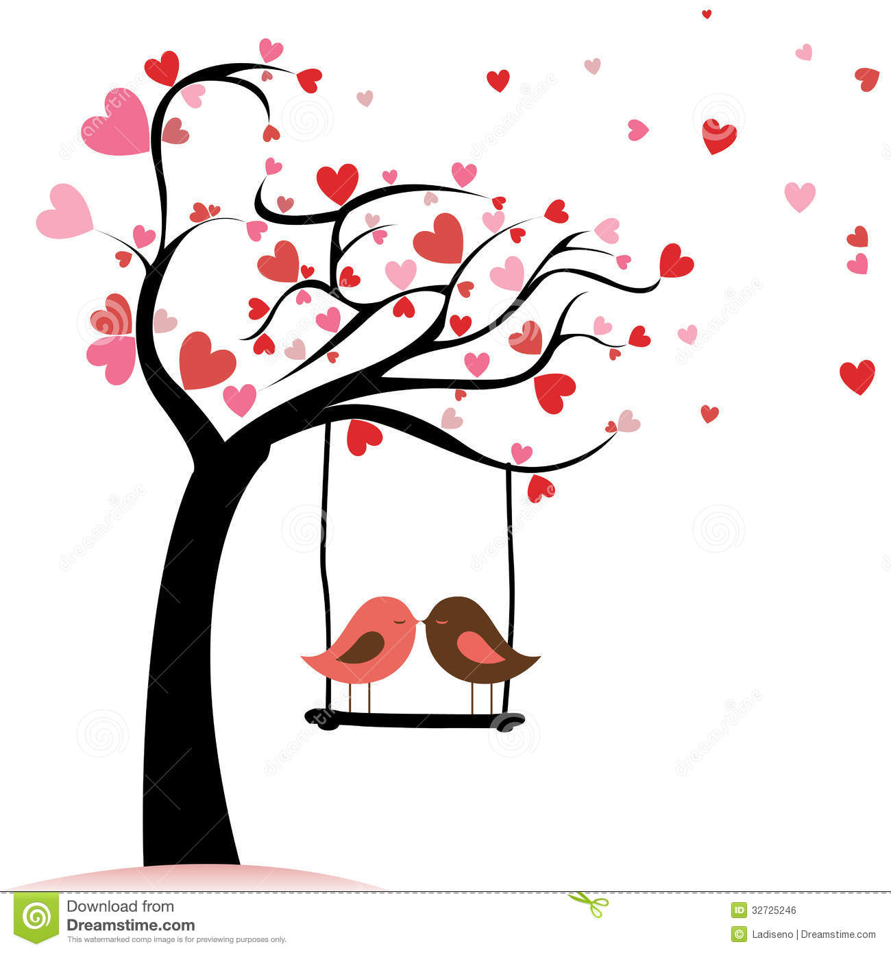 1300x1390 Autumn Tree With 2 Birds Clipart