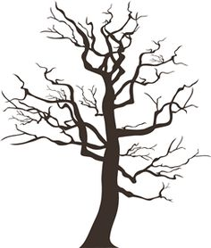 236x278 Black Tree Silhouette Isolated On White Background, Vector Stock