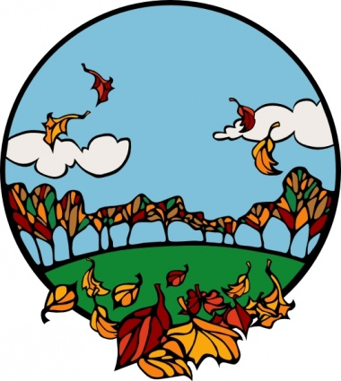 380x425 Fall Scene In A Circle Clip Art Vector, Free Vectors