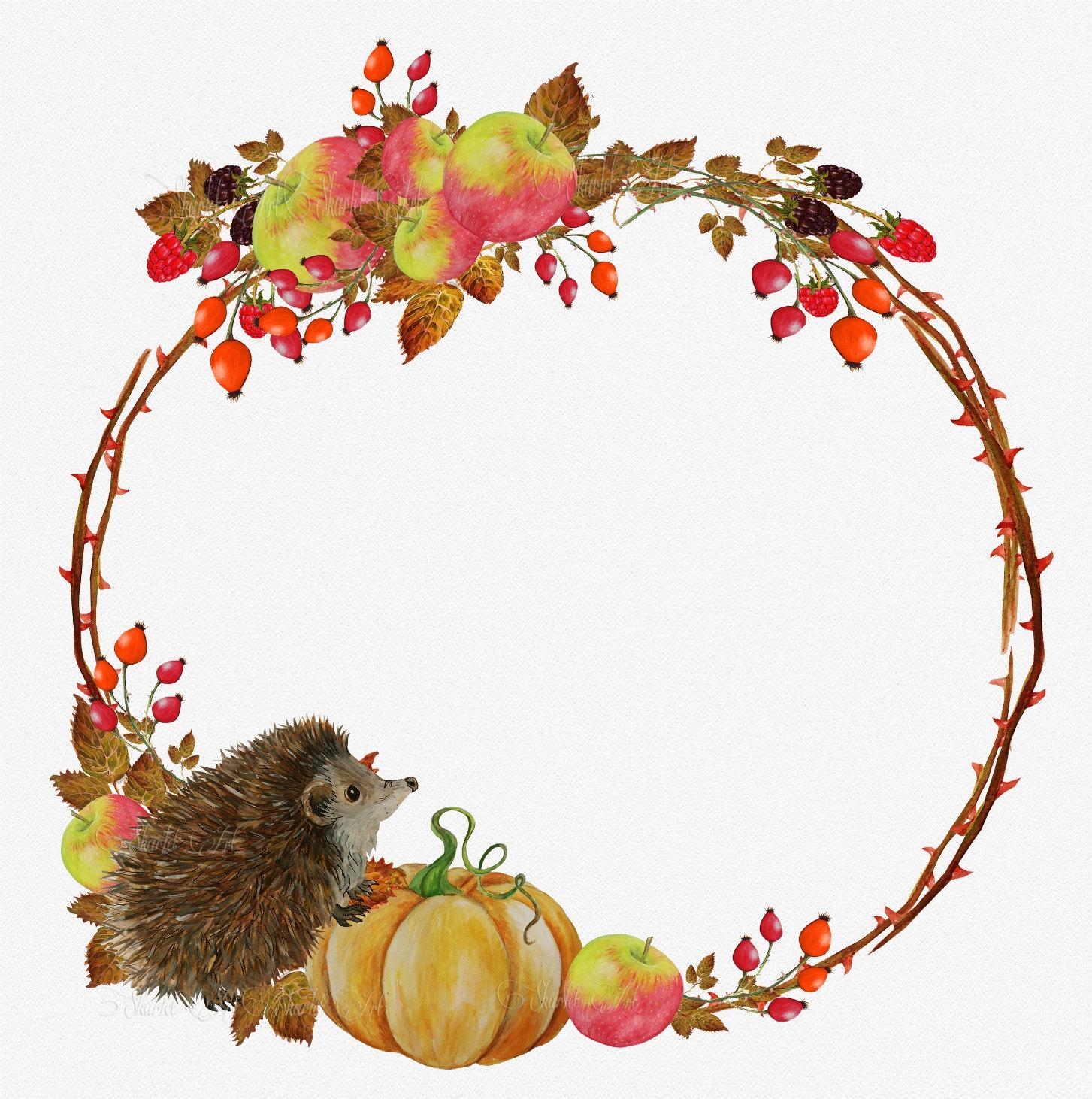 1453x1462 Fall Clip Art Autumn Clipart Watercolor Hedgehog Clipart Autumn