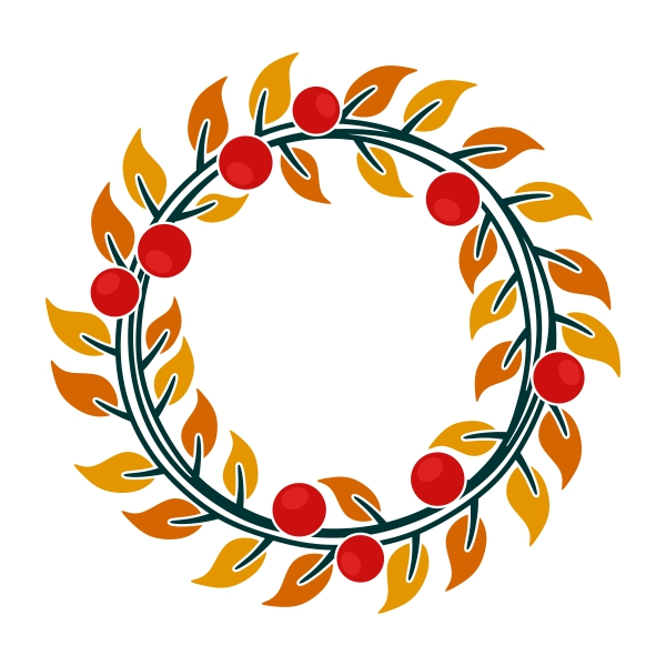 600x600 Fall Wreath Monogram Cuttable Frame