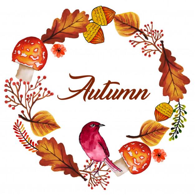 626x626 Watercolor Autumn Wreath Vector Free Download