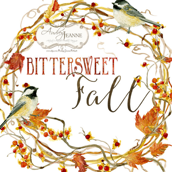570x570 Watercolor Fall Wreath, Digital Clip Art, Autumn Leaves Clipart