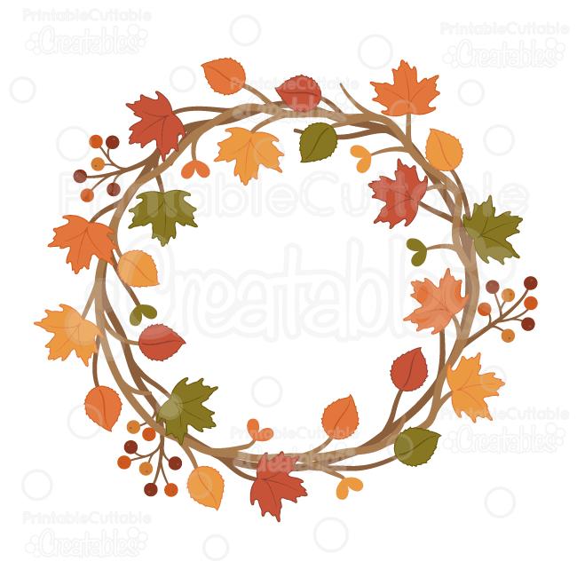 650x650 Autumn Wreath Svg Cut File Amp Clipart