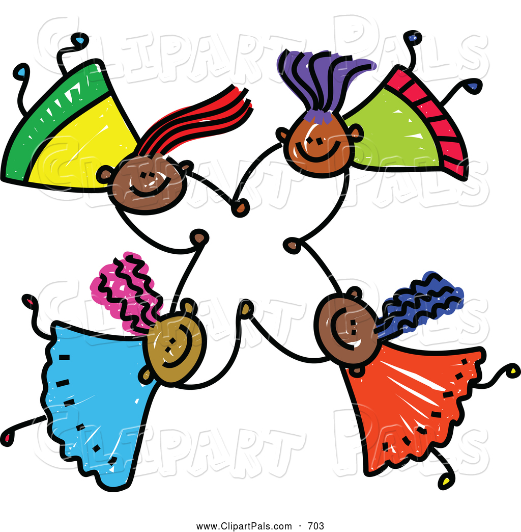 1024x1044 Pal Clipart Of A Childs Sketch Of Four Friendly Kids Holding Hands