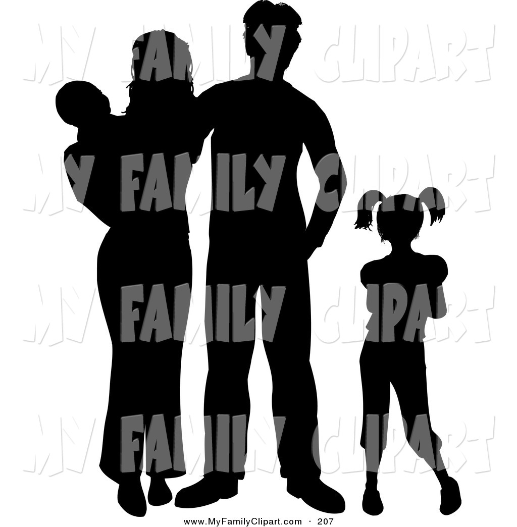1024x1044 Clip Art Of A Black Silhouetted Family With Two Children On White