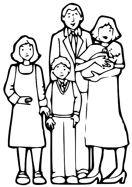 450x638 Family Clipart Black And White