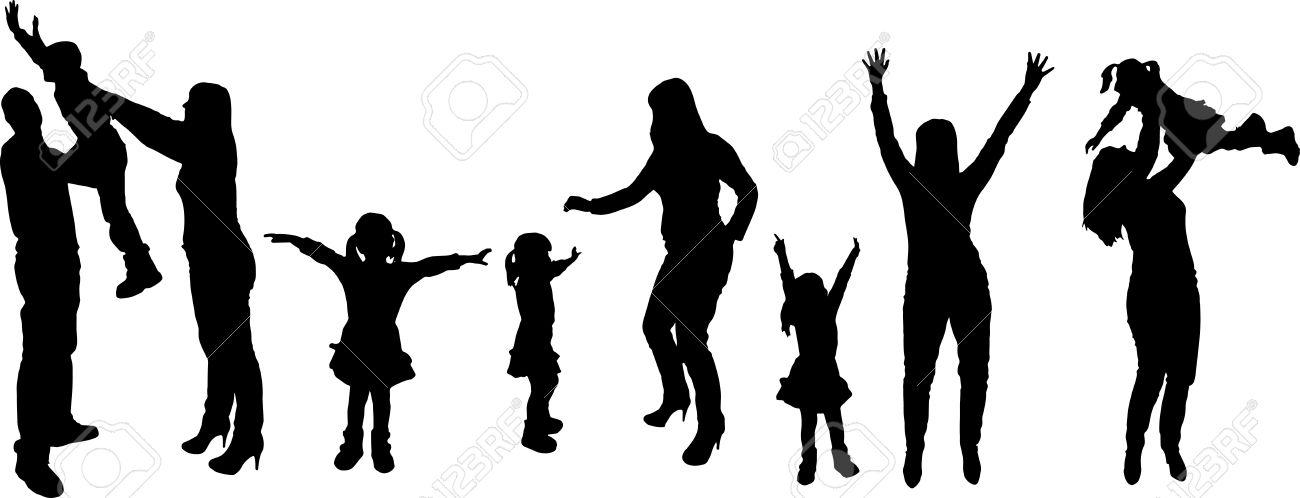 1300x498 Family Black And White Family Silhouette White Clipart
