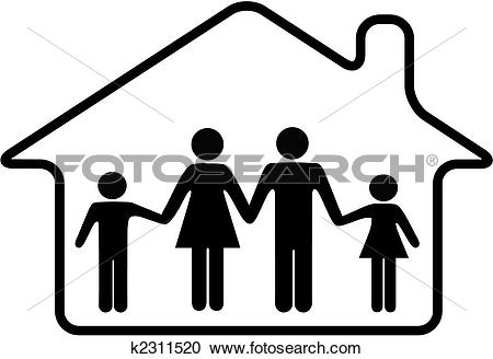 450x328 House With Family Clipart Black And White